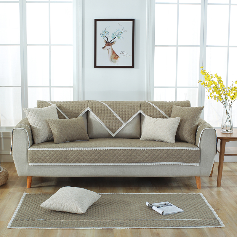 All Seasons Pure Color Simple Style Prevent Stains Sofa Covers