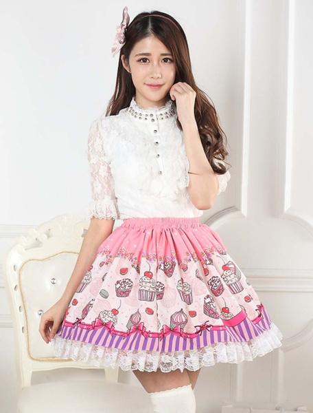 Milanoo Cupcake Print Lace Lolita Skirt