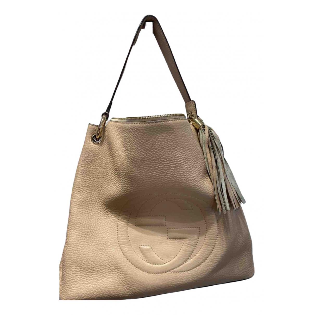Gucci Soho Handtasche in  Beige Leder