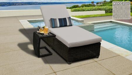 Venice Collection VENICE-1x-ST-ASH Patio Set with 1 Chaise   1 Side Table - Wheat and Ash