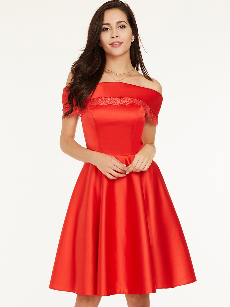 Ericdress Off-the-Shoulder Zipper-Up A Line Homecoming Dress
