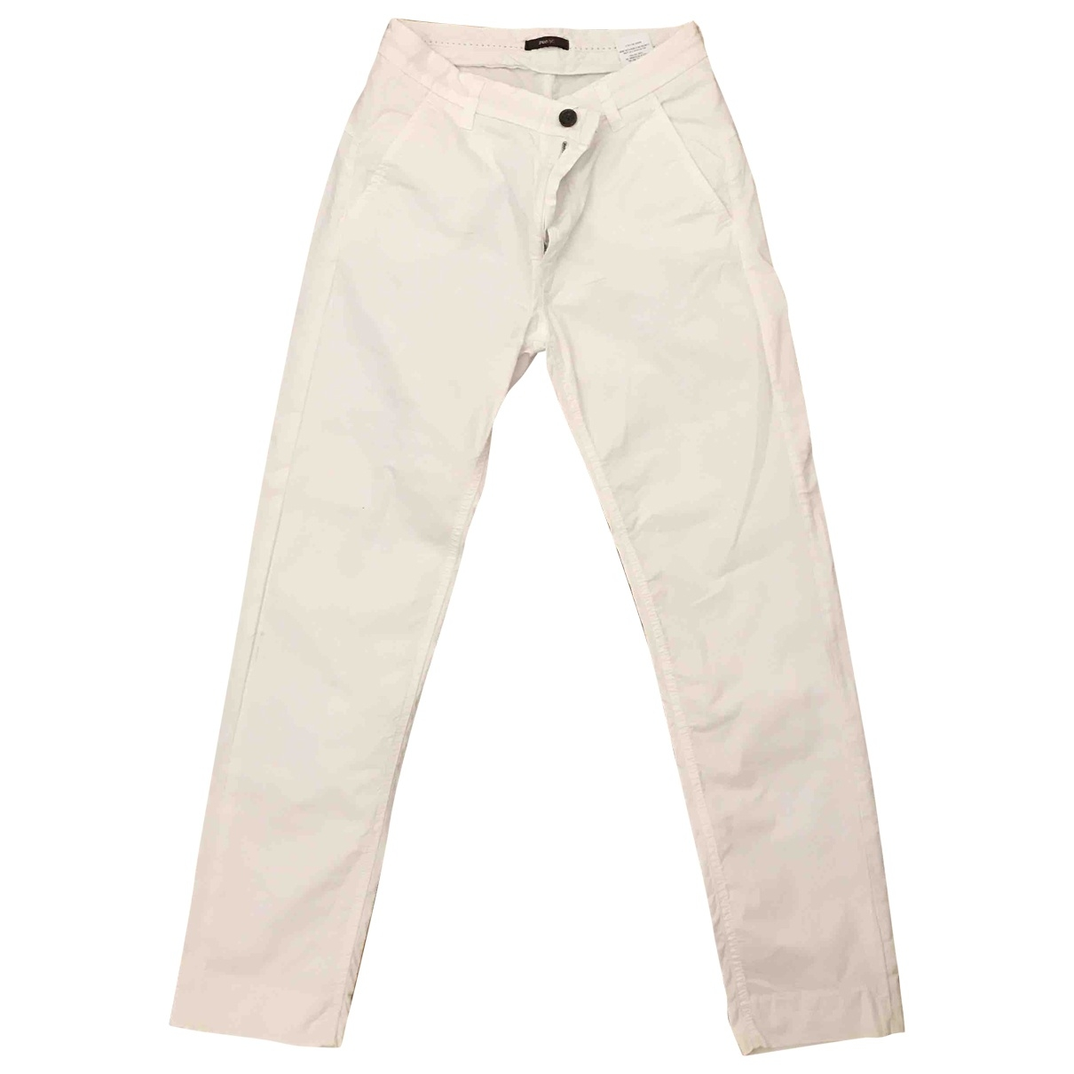 True Nyc \N White Cotton Trousers for Women 42 IT