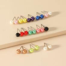 12pairs Faux Pearl Decor Stud Earrings