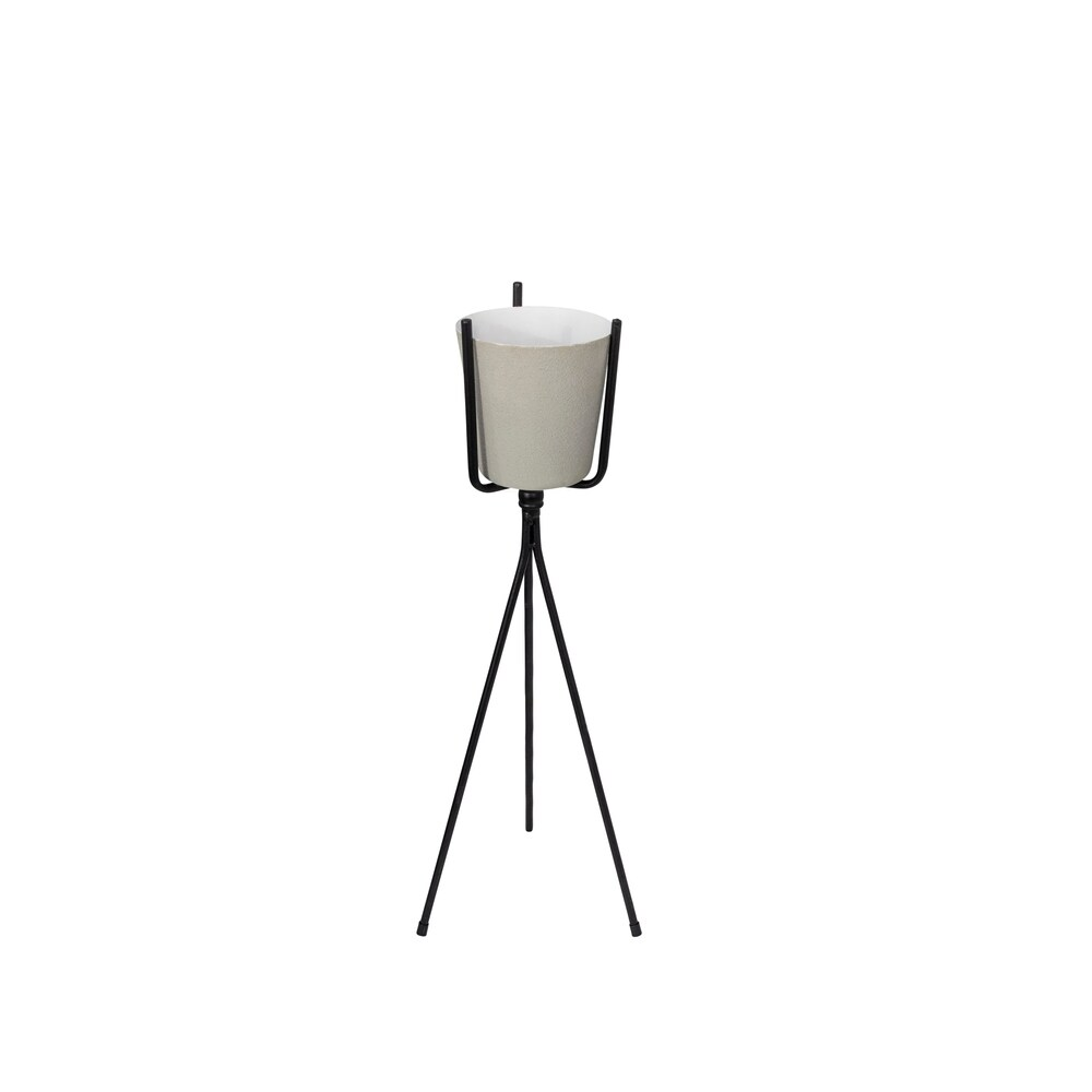 Ivory Metal Planter On Stand,27.5