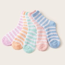 5pairs Striped Pattern Fluffy Socks