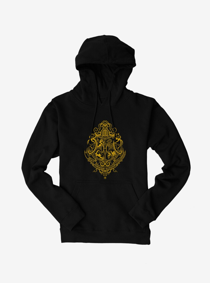 Harry Potter Hogwarts Shield Yellow Outline Hoodie