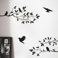 Tree & Bird Print Wall Sticker