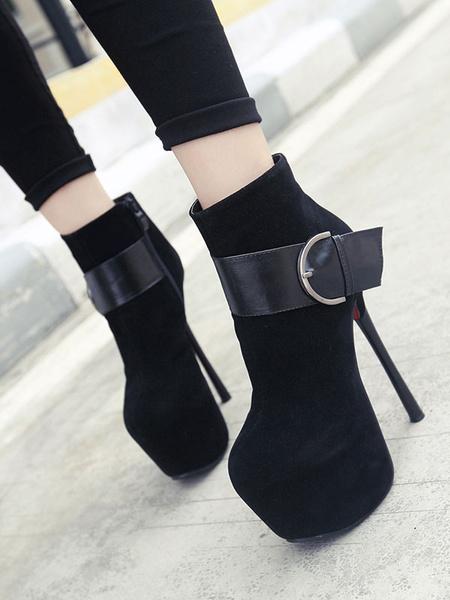 Milanoo Women Sexy High Heels Black Round Toe Suede Leather Upper Sexy Shoes Stiletto Heel