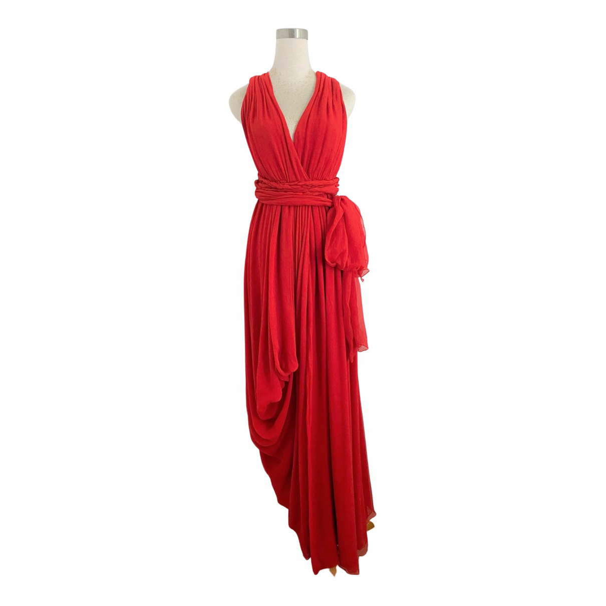 Yves Saint Laurent - Robe   pour femme en soie - rouge