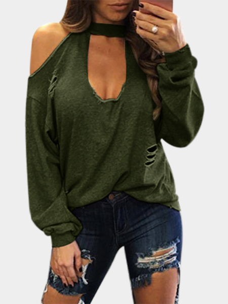 Yoins Army Green Sexy Cold Shoulder Ripped Long Sleeves T-shirt