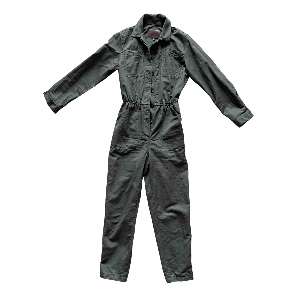 Massimo Dutti - Combinaison   pour femme en coton - kaki