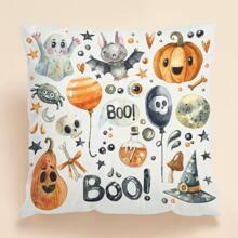 Funda de cojin con estampado de dibujos animados de Halloween sin relleno