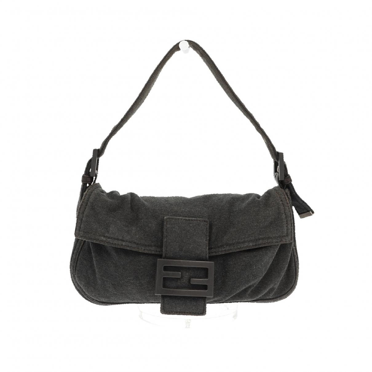 Fendi Baguette Handtasche in  Grau Leinen