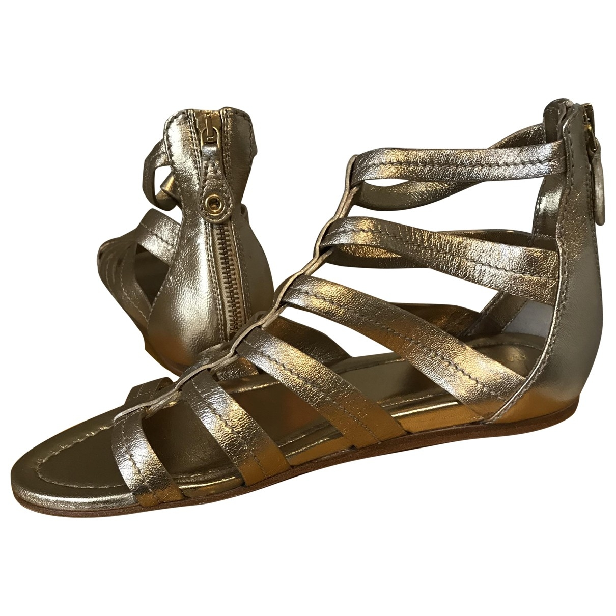 Carshoe \N Gold Leather Sandals for Women 37.5 IT