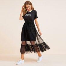 Vestido con malla de lunares de cintura con cordon con estampado de letra