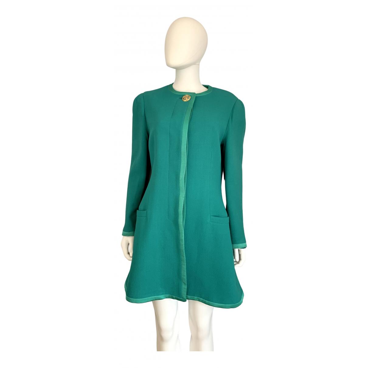 Gianni Versace - Manteau   pour femme en laine - turquoise