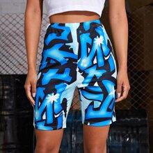 High Waist All Over Print Shorts