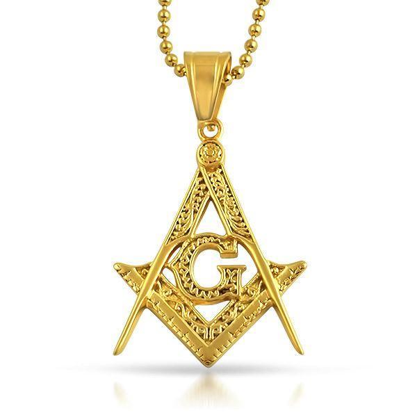 Medium Fancy Masonic Free Mason Pendant Gold Steel