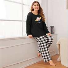 Conjunto de pijama con estampado de letra y cuadros - grande