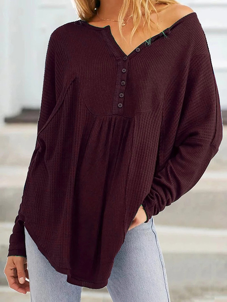 Yoins Button Design V-neck Long Sleeves Waffle Knit Top
