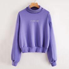 Turtle Neck Letter Embroidery Sweatshirt