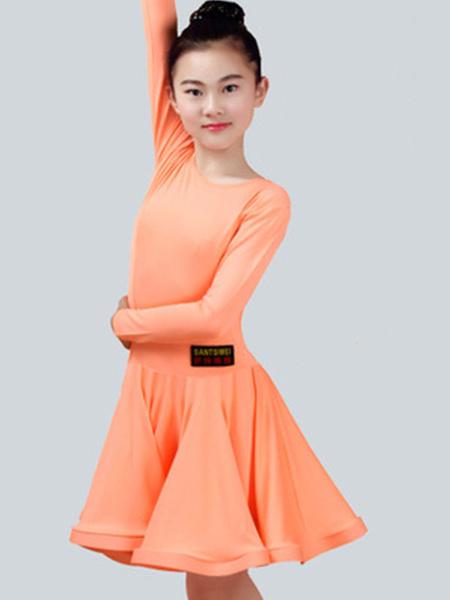 Milanoo Disfraz Halloween Vestido de baile latino Color liso Actuacion fibra de poliester de elastano de marca LYCRA Carnaval Halloween