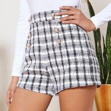 Shorts tweed con botones