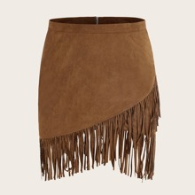 Plus Zipper Back Asymmetrical Fringe Hem Suede Skirt
