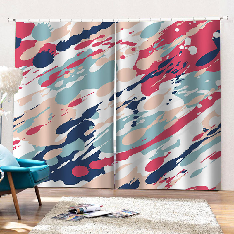 Room Darkening 3D Colored Drawing Print Curtains 2 Panel Set 200 ㎡ Polyester Silky Satin Polyester Blend Provides an Elegant Look and Silky Soft Touch