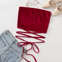 Solid Velvet Knotted Tube Top