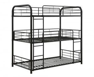 Cairo Collection 37330 Full Size Triple Bunk Bed with Slat System Included  Built-In 2 Front Ladders  Easy Access Guard-Rail and Metal Frame
