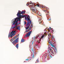 3 Stuecke Haargummis mit Blumen Muster