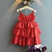 Kleinkind Maedchen Cami mehrschichitiges Kleid mit Konfetti Herzen Muster