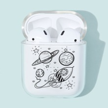 1pc Planet & Spaceship Pattern AirPods Case