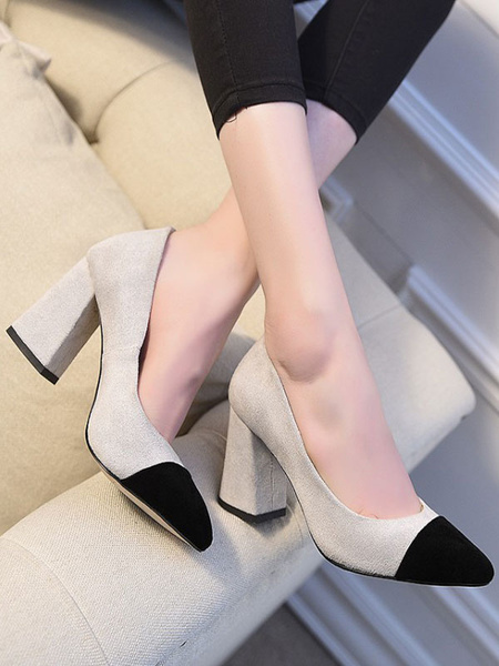 Milanoo Women's High Heels Pumps Chunky Heels Slip-On Pointed Toe Micro Suede Rubber Sole Women'sPumps