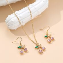 3pcs Rhinestone Decor Cherry Charm Jewelry Set