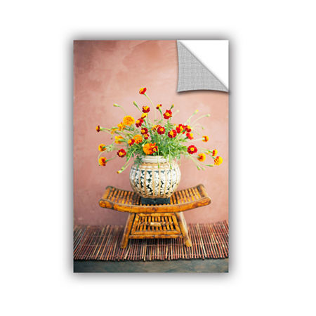 Brushstone Asian Floral Removable Wall Decal, One Size , Orange