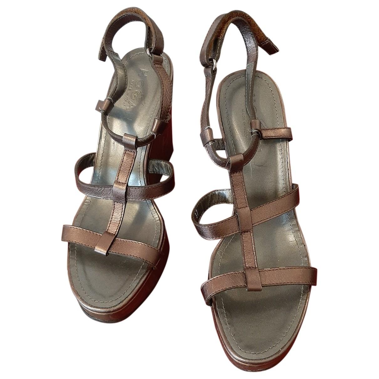Hogan - Sandales   pour femme en cuir - metallise