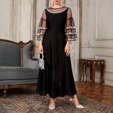 Kleid mit Netzstoff auf Ärmeln und Kontrast Pailletten Detail