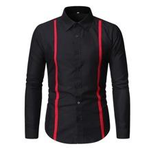 Men Contrast Tape Button Through Shirt