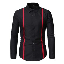 Guys Contrast Tape Button Through Shirt