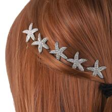 5pcs Rhinestone Decor Starfish Decor Hairpin