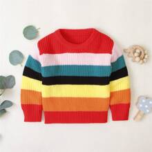 Toddler Girls Rainbow Colorblock Sweater