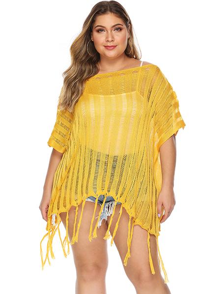 Yoins Plus Size Semi Sheer Half Sleeves Cover Up Beachwear Dress