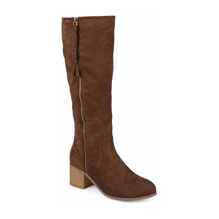 Journee Collection Womens Sanora Wide Calf Dress Boots Block Heel, 10 Wide, Beige
