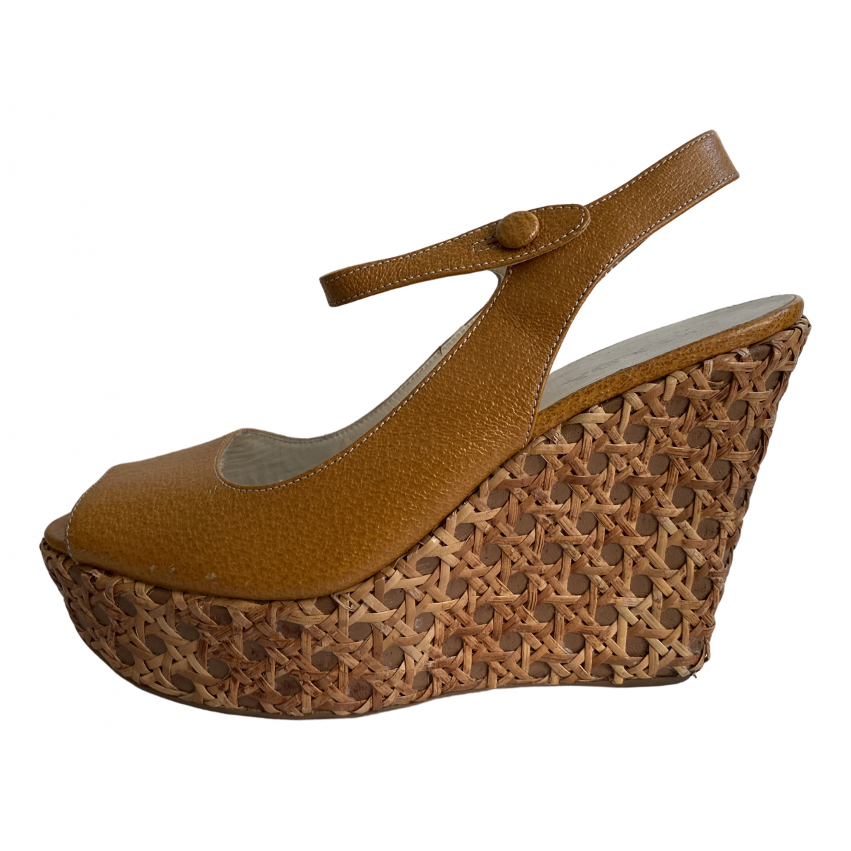 Prada \N Beige Leather Sandals for Women 36.5 IT