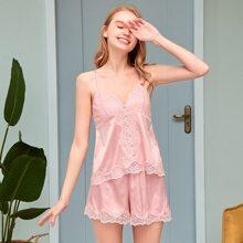PJM Satin Cami Schlafanzug Set mit Knopfen vorn und Spitzen