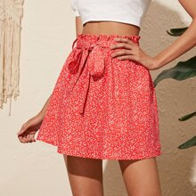 Ditsy Floral Paperbag Waist Belted Skirt