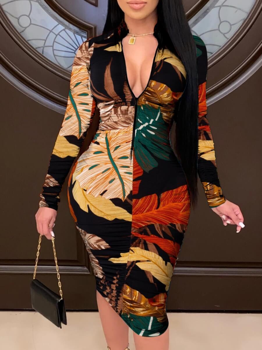 LW Lovely Casual Mandarin Collar Print Black Mid Calf Dress