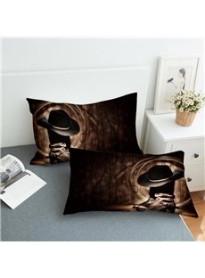 Cowboy Style Shoes And Hats Reactive Printing 2-Piece Polyester Pillowcase